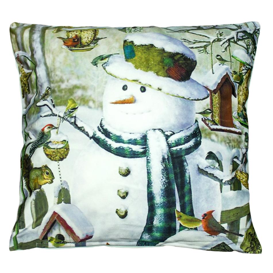 BO-MA Trading Povlak na polštářek Sněhulák s ptáčky, 40 x 40 cm