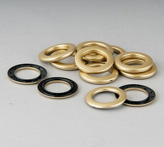 Kroužky na závěsy matná zlatá, sada 10 ks, 3,5 / 5,5 cm