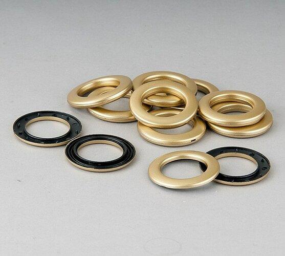 Krúžky na závěsy matná zlatá, sada 10 ks, 3,5 / 5,5 cm