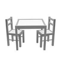 New Baby Detská drevená sada stolčeka a stoličiek, 3 ks, sivá