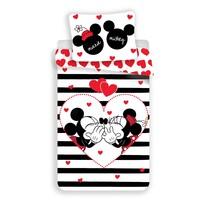 Lenjerie bumbac Jerry Fabrics Mickey și Minnie Stripes, , din bumbac 140 x 200 cm, 70 x 90 cm