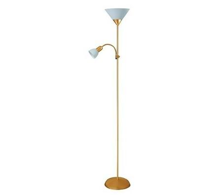 Stojací lampa Rabalux Action 4066, satin zlatá/bíl, zlatá, 180 x 23 cm