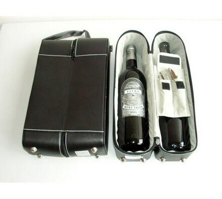 Box se setem na 2 láhve, černá, 33 x 9 x 18 cm