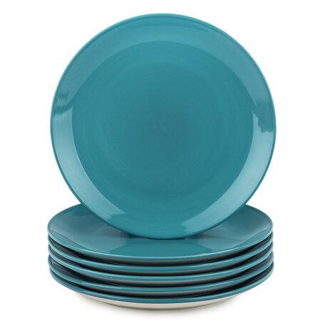 Altom Monokolor porcelán desszertes tányér szett, 19 cm, türkiz, 6 db
