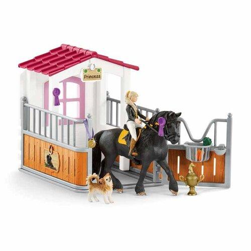 Schleich 42437 stajňa s koňom klubová, Tori a Princess, 24,5 x 19 x 8,2 cm