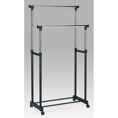Stojan na šaty chrom / černá, 85 x 170 cm