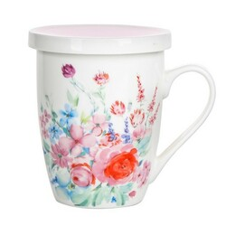 Altom Kubek porcelanowy z sitkiem i pokrywą Pastelowy kwiat 300 ml