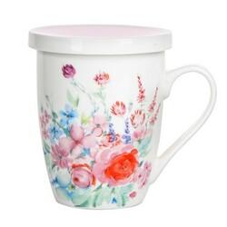 Altom Porcelánový hrnček so sitkom a viečkom  Pastelový kvet 300 ml