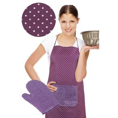 Zástěra s chňapkou, fialový puntík