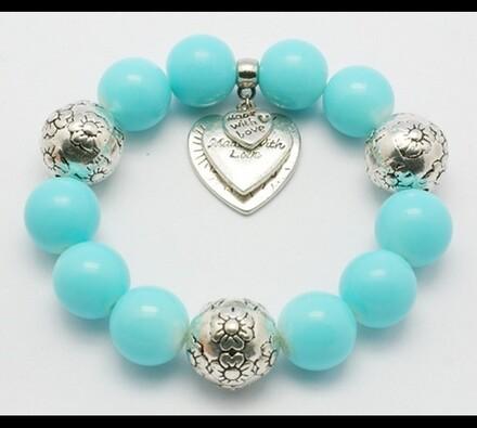Elastický dámský náramek z modrých korálků