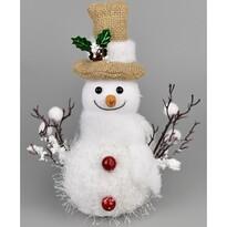 Bonhomme de neige karácsonyi dekoráció, 22 cm