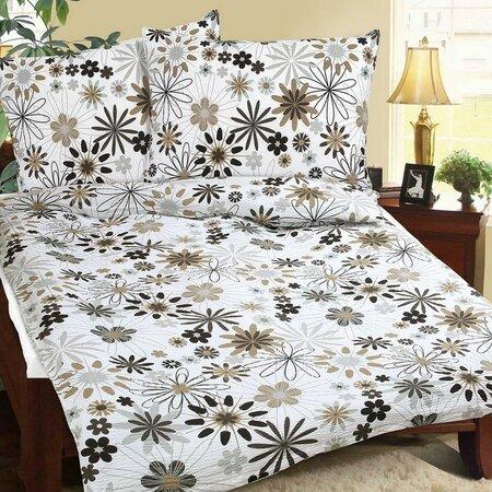 Lenjerie de pat Floral bej pentru 2 persoane, din bumbac, 240 x 220 cm, 2 buc 70 x 90 cm