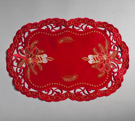 Vánoční ubrus červený, 30 x 45 cm, červená, 30 x 45 cm