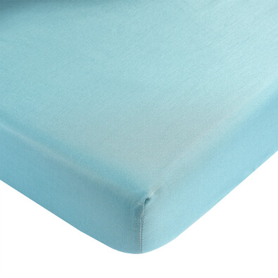 Saténové prostěradlo s gumou tyrkysová, 90 x 200 cm