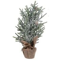 Umělý stromek se šiškami 38 cm, stříbrno - zelená
