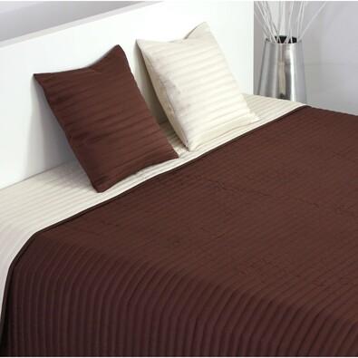 Přehoz na postel Mondo tmavě hnědá a béžová, 220 x 240 cm