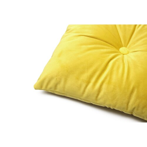 Domarex Polštář s knoflíky Serenity Velvet žlutá, 40 x 60 cm