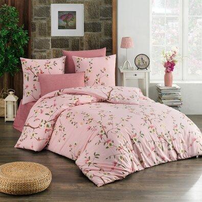 Lenjerie de pat din bumbac Laura, roz, 140 x 200 cm, 70 x 90 cm