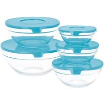 Set boluri cu capac, din sticlă, 5 piese, albastru