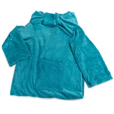 Koc Comfort z rękawami i kieszenią niebieski, 180 x 135 cm