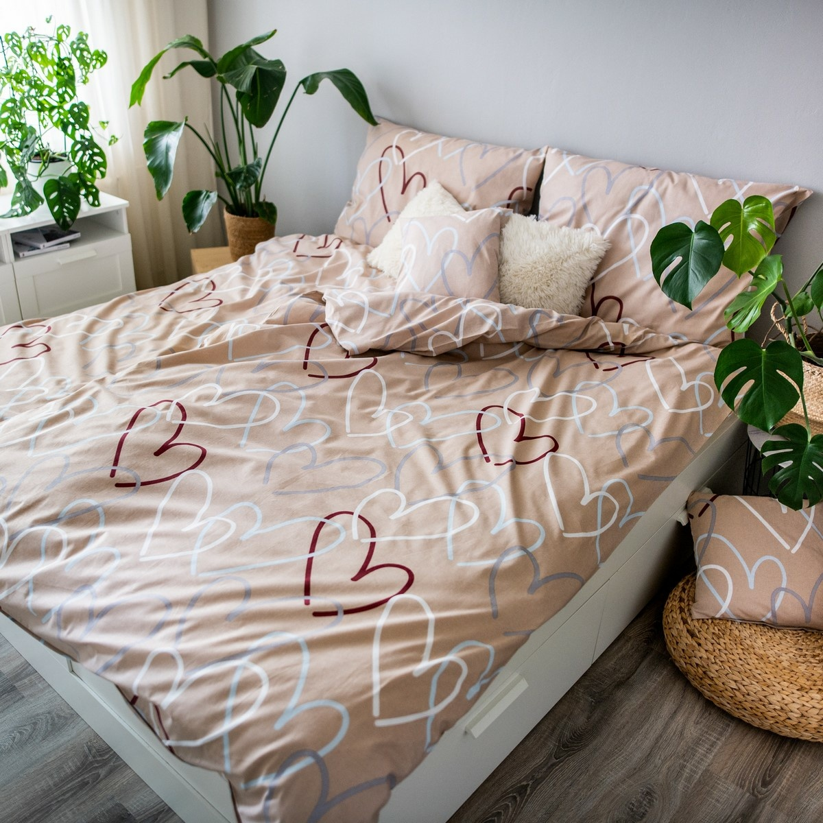 Jahu Bavlněné povlečení Dita Love béžová, 140 x 200 cm, 70 x 90 cm + 40 x 40 cm