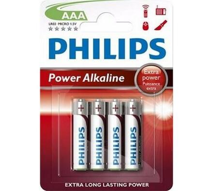 Alkalické baterie, 4 ks, 1,5 V, Power Alkaline AAA