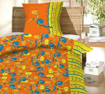 Dětské bavlněné povlečení Žížaly oranžová 140x200,