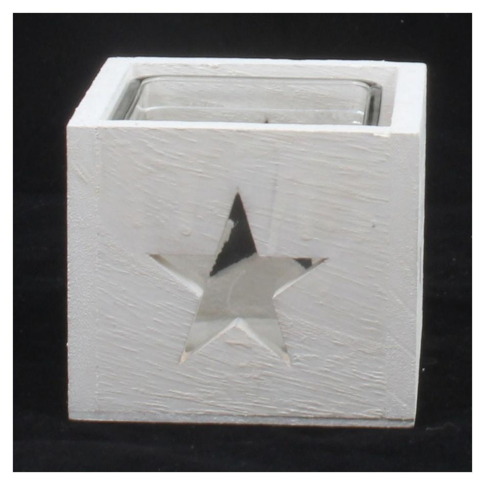 Dakls Dřevěný svícen se sklem Hvězda, bílá