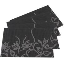Prestieranie Kvety čierna, 30 x 45 cm, sada 4 ks