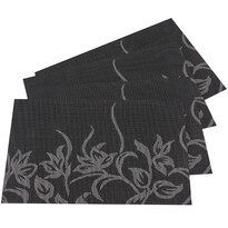 Suport farfurie Flori, negru, 30 x 45 cm, set 4 buc.