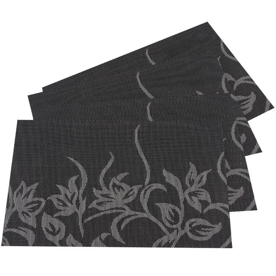 JAHU Prestieranie Kvety čierna, 30 x 45 cm, sada 4 ks