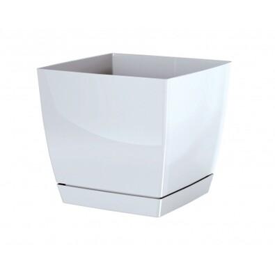 Květináč Coubi Square s miskou bílá, 18 cm