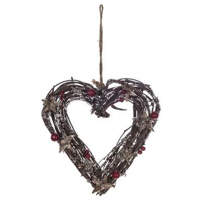 Proutěné závěsné srdce bobule