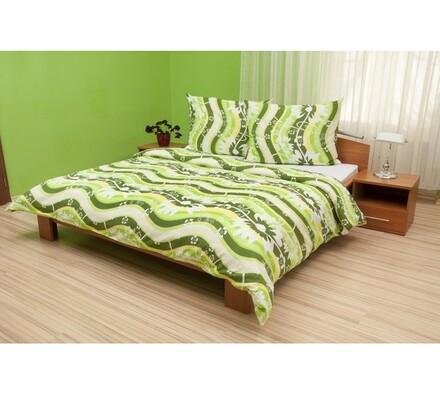 Krepové povlečení Vlny zelené, 140 x 200 cm, 70 x 90 cm