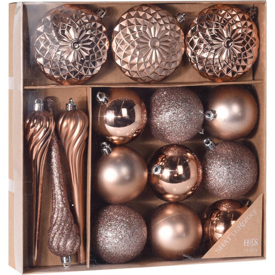 Sada vánočních ozdob Tolentino měděná, 15 ks