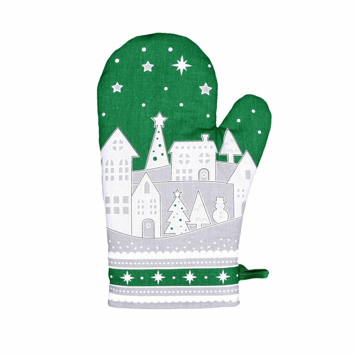 Forbyt Vánoční chňapka Zimní vesnička zelená, 18 x 28 cm
