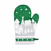 Vianočná chňapka Zimná dedinka zelená, 18 x 28 cm