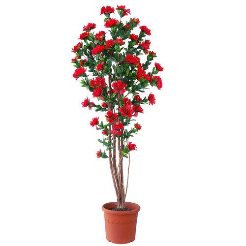 Umelá kvitnúca Azalka v kvetináči červená, 120 cm