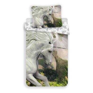 Bavlněné povlečení Unicorn white, 140 x 200 cm, 70 x 90 cm