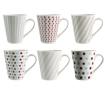 Klasické keramické hrnky, 6 kusů