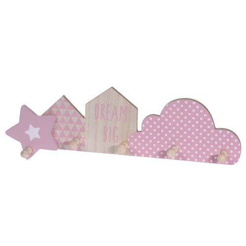 Cuier cu 5 cârlige Dream big, roz