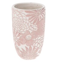 Wazon betonowy Flower, różowy, 12,5 x 21 x 12,5 cm