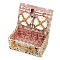 Piknik kosár 4 személy részére, világosbarna, 46 x 31 x 20 cm