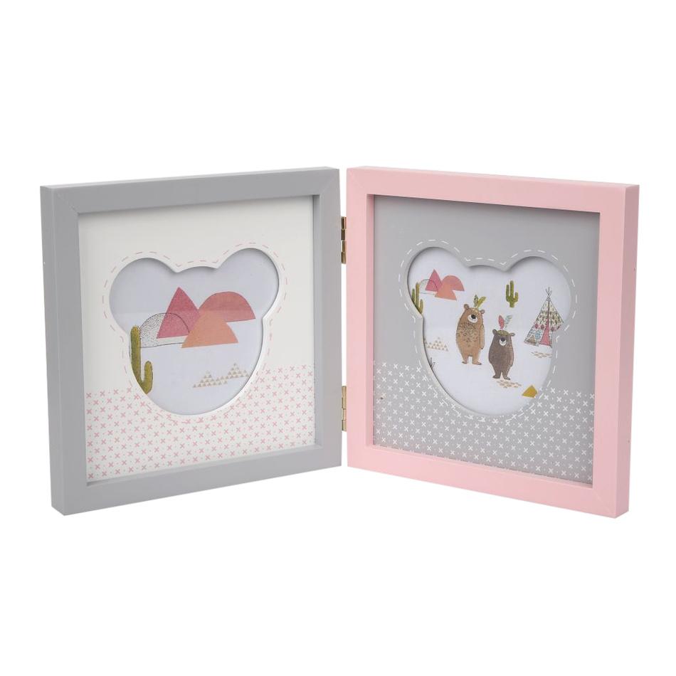 Altom Dřevěný rámeček na 2 foto Medvídek, růžová