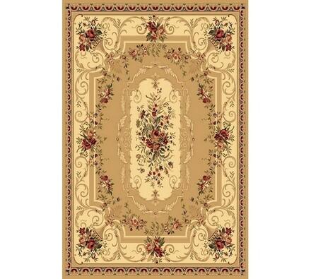 Kusový koberec Malaga Klasik, béžový s květinovým , 67 x 130 cm