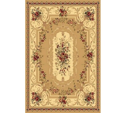 Kusový koberec Malaga Klasik, béžový s kvrtinovým , 67 x 130 cm