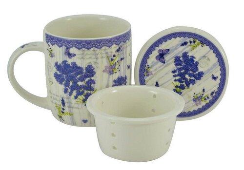 Kubek porcelanowy z sitkiem i pokrywą Lawenda 400 ml w pudełku prezentowym