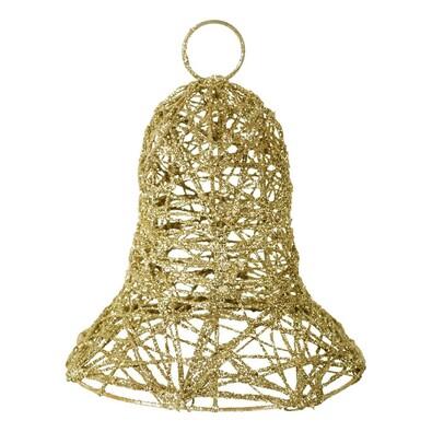 Kovový vánoční zvonek, zlatý, zlatá