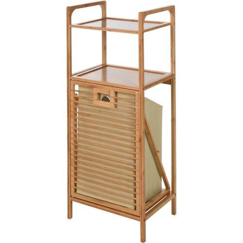 Koupelnový regál s výklopným košem Bamboo, 40 x 95 x 30 cm