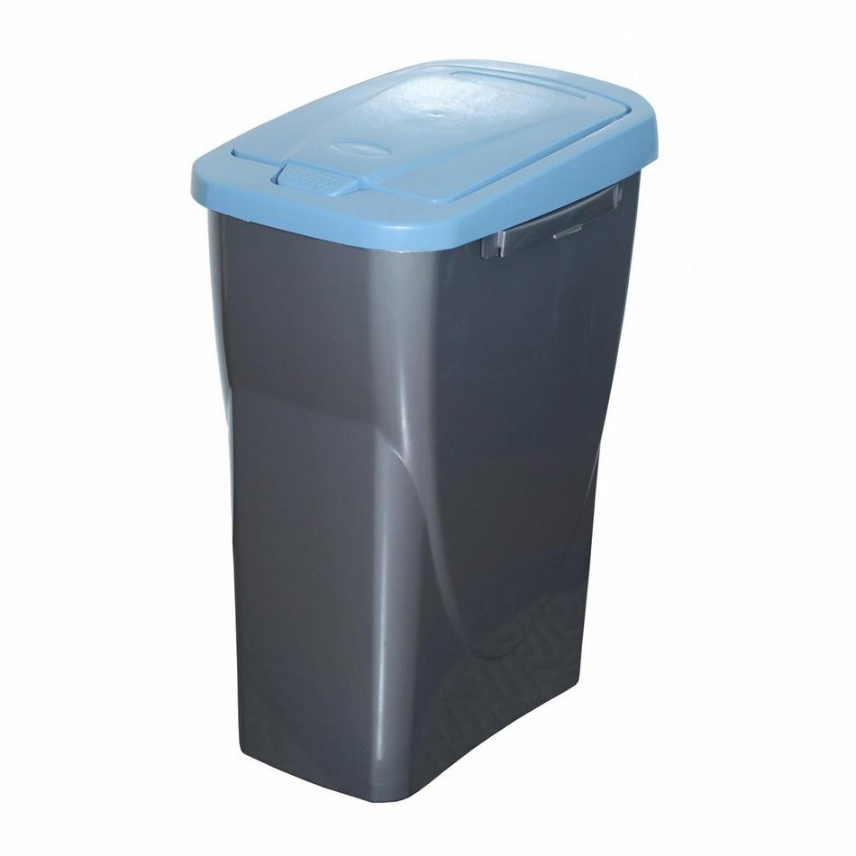 Produktové foto Koš na tříděný odpad modré víko; 51 x 21,5 x 36 cm; 25 l; plast